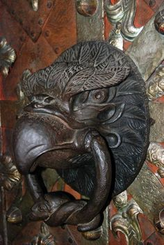 Door knocker at St Vitus Cathedral, Prague, Czech Republic