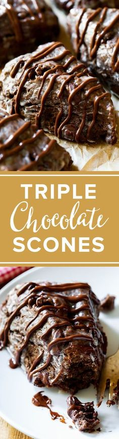 These crumbly, yet moist triple chocolate scones taste like warm brownies from t. Brunch Recipes, Sweet Recipes, Dessert Recipes, Drink Recipes, Just Desserts, Delicious Desserts, Yummy Food, Biscuits, Muffins