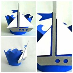 Nautical sail boat Cupcake Wrappers 24 count  Waves by JazzyBug, $20.00