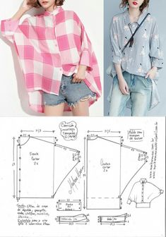 Sewing simple patterns Lista com dicas e tutorias de: sew einfach clothes crafts for beginners ideas projects room Blouse Patterns, Clothing Patterns, Blouse Designs, Sewing Shirts, Sewing Clothes, Fashion Sewing, Diy Fashion, Easy Sewing Patterns, Clothes Crafts