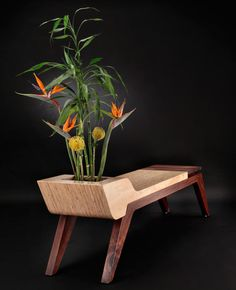 Silence bench, inspired by the simple beauty of nonverbal communication, features solid teak mixed with beautiful white or charcoal concrete in which your favorite plant or other item can be placed.  #bench