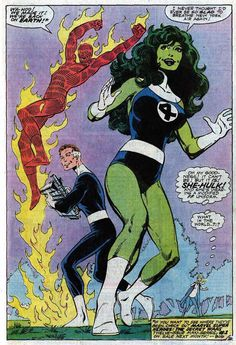 At one point, She Hulk replaced the Thing in the Fantastic Four by John Byrne. Hulk Marvel, Spiderman, Hulk Comic, Marvel Comics Superheroes, Marvel Girls, Marvel Heroes, Avengers, Comic Book Artists, Comic Book Characters