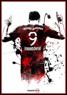 Robert Lewandowski Bayern Munich A3/A4 Poster by FootyFX on Etsy