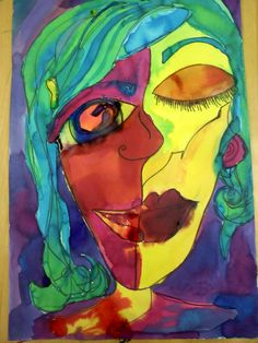 "Picasso Lesson   With my students we do ""self portrait"" using the Picasso style.  Students create themselves in an abstract way, then paint ..."