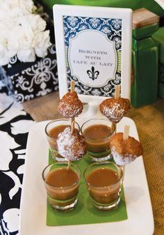 {New Orleans Style} Adult Halloween Voodoo Party -- a perfect way to serve beignets.