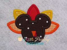 turkey applique pattern | Mouse Turkey Applique Design | Disney Applique & Embroidery