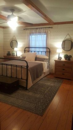Rustic Bedroom Ideas - If you want to go to rest in rustic posh then this article is perfect for you. We have actually gathered a lot of rustic bedroom design ideas you might make use of. Farmhouse Master Bedroom, Home Bedroom, Farm Bedroom, Basement Master Bedroom, Country Bedrooms, Bedroom Apartment, Farmhouse Bedroom Furniture, Cozy Basement, Rustic Bedrooms
