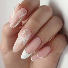 The Best Wedding Nails 2019 Trends ❤ wedding nails 2019 trendy nude white french geometry and butterfly viart_master Diy Wedding Nails, Wedding Nails Design, Bridal Nails, White Nail Art, White Nails, White French Nails, Rose Nail Art, White Nail Designs, Nail Art Designs