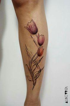 Tulipa feita por Aline Wata, publicada no facebook. Amei!
