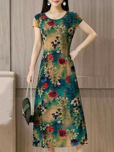 Short Sleeve Printed A-line Casual Plus Size Dress – fairymiss Minimalist Dresses, Minimalist Fashion, Dress Shirts For Women, Clothes For Women, One Piece Dress, Sweet Dress, Feminine Style, Plus Size Dresses, Plus Size Women