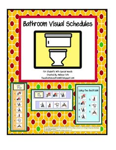 Visual Schedules help children learn the steps involved in using the bathroom.