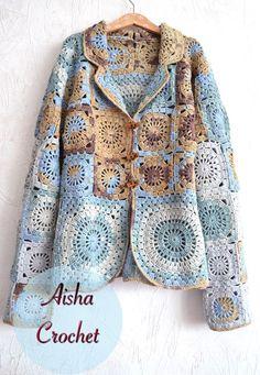 Boho jacket Sicilia by Aisha Crochet Crochet Coat, Crochet Jacket, Crochet Cardigan, Crochet Clothes, Hippie Crochet, Freeform Crochet, Crochet Granny, Crochet Designs, Crochet Patterns