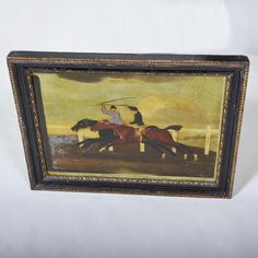 """18th century Reverse Print on Glass of Hunting  Wdith: 17"""""""" / 42 cms Height: 12.5"""""""" / 32 cms"""""""