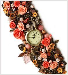 """Купить Часы-браслет """"Летний сад"""" - коралловый, бронзовый, маленькие розочки, птички"""