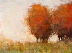 """Daily Paintworks - """"Red Trees"""" - Original Fine Art for Sale - © Don Bishop"""