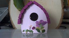 Pressed Flower Art Bird House Pink Joy by FlowerFelicity on Etsy, $13.99