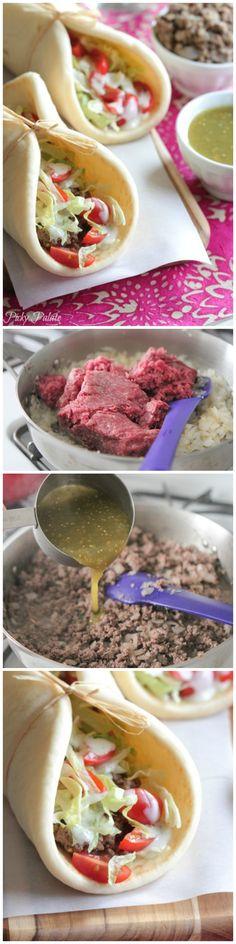 The Best 5 Ingredient Salsa Verde Beef Tacos!