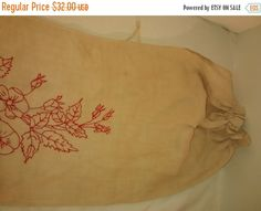 On Sale Antique Embroidered Red Work  Linen by thelongacreflea