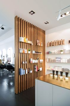The joinery works as a division of space between the reception and hair salon as well as shelving for hair care products. Home Hair Salons, Home Salon, Hair Salon Interior, Salon Interior Design, Beauty Room Decor, Beauty Salon Decor, Beauty Salon Design, Hair And Beauty Salon, Deco Spa
