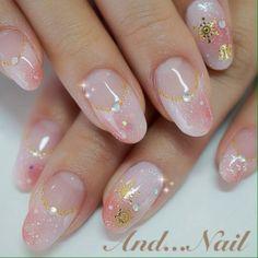 pink gradation deep french nail