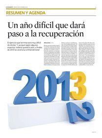 La economía española seguirá cayendo, pero ¿cuanto?El país seguirá en recesión en 2013. Las peores noticias seguirán llegando del paro y el objetivo de déficit no se cumplirá. En esto hay unanimidad. A partir de aquí, sólo un aluvión de previsiones. Sólo el Ejecutivo permanece inamovible. Y ello a pesar de que la crónica de este 2012 ha sido la de una pura predicción fallida desde todos los oráculos. El sector industrial mejorará | El paro rozará los 6 millones |   Editado: 28/12/12