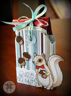 Treat tote by Jessica Fick. Reverse Confetti stamp set: Sammy Squirrel. Confetti Cuts: Tagged Tote. Birthday treat. Birthday gift.