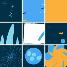 "9 Squares — 9 different designers/animators + 350px, 3 second looping animated GIF. ""Just for fun. Twice a month. Probably."" Love it!  Created by designers Al Boardman, David Stanfield and Skip Hursh"