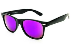 PURPLE LENS MIRROR WAYFARER SUNGLASSES BLACK W1032