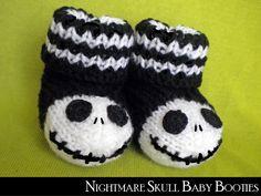 Nightmare Skull Baby Booties Knitti