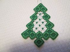 Hardanger Tree Ornament  Norwegian Embroidery Cut Work