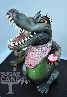 I hope you enjoy these amazing ALLIGATOR CAKE ideas. You will find image sources be. Alligator Cake, Alligator Party, Gorgeous Cakes, Amazing Cakes, 3d Cakes, Cupcake Cakes, Crocodile Cake, Fondant, Spider Cake