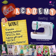 #Win a Janome 3128 Sewing Machine plus $50 JoAnn Fabrics Gift Card, and  All 9 CKC Academy PDF Patterns. @CreateKidsCouture #Giveaway ends 2/22
