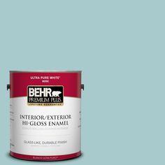 BEHR Premium Plus 1-gal. #pmd-95 Coastal Surf Hi-Gloss Enamel Interior/Exterior Paint