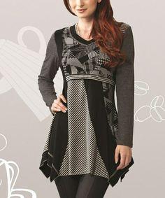 Look at this #zulilyfind! Black & Gray Patchwork Handkerchief Tunic…