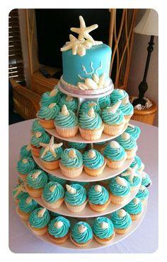 Ideas wedding cakes beach cupcakes bridal shower for 2019 Beach Cupcakes, Yummy Cupcakes, Beach Wedding Cupcakes, Seashell Cupcakes, Wedding Sweets, Ocean Theme Cupcakes, Beach Themed Wedding Cakes, Starfish Cake, Sweet 16 Cupcakes