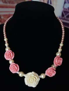 Ivory Marfil Pink Rose Pearl Jewelry Set by TheSweetPeaCreation