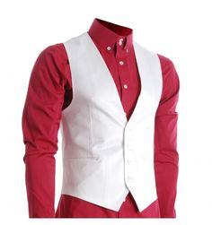 Shop FLATSEVEN Men's Waistcoat White White - White - Free delivery and returns on eligible orders. Mexican Outfit, Suit Vest, Vest Men, Vest Coat, Designer Clothes For Men, Designer Clothing, Sharp Dressed Man, Slim Man, Boutique Clothing