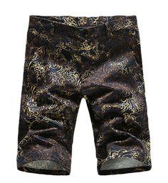 Black Gold Tribal Print Mens Upscale Stylish Shorts