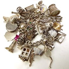 sterling silver bracelet in Vintage and Antique Jewellery Vintage Charm Bracelet, Silver Charm Bracelet, Charm Jewelry, Sterling Silver Bracelets, Wire Jewelry, Jewlery, Rhinestone Jewelry, Vintage Rhinestone, Love Bracelets