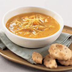Sweet Potato-and-Ginger Soup: This simple #soup  #recipe is easy to make. #sweetpotato | Health.com
