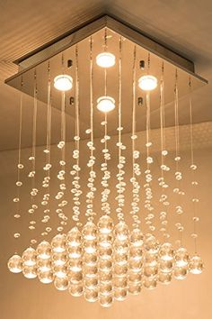 Simon Fashion Modern Crystal Raindrop Chandelier Flush Mount Pendant Ceiling Light Fixture With Crystal Ball for Dining Room Bathroom Bedroom Livingroom L157 x W157 x H236 * Check out the image by visiting the link.-It is an affiliate link to Amazon. #DiningRoomLighting
