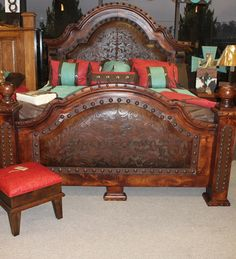 Mesquite Bed w Tooled Leather