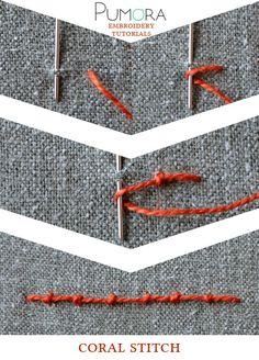 Pumora's lexicon of embroidery stitches: coral stitch