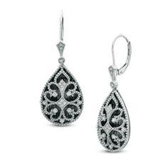 1/10 CT. T.W. Diamond Teardrop Earrings in Sterling Silver with Black Rhodium