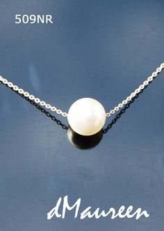 509NR WHITE Pearl on White Gold Chain. Floating by dMaureenVastine