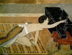Japanese Girl with a Black Mirror - Balthus - WikiPaintings.org