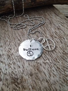 I Believe  Hand Stamped Necklace  inspirational by FarrarCreations, $22.50