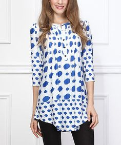 White & Blue Dot Notch Neck Tunic