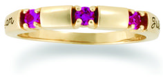 Tiny Birthstone and Gold Spacer Personalized Ring - with Genuine Stones