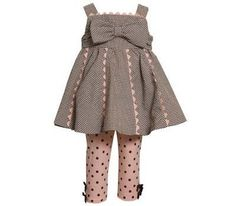 Bonnie Jean Girls Checked Polka Dot Spring Summer Dress Outfit Set, Brown, 2T - 4T $27.99